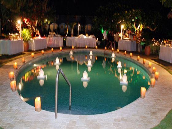 Candlelit pool area