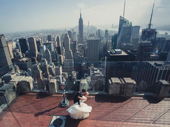 Bride & Groom at Top of the Rock