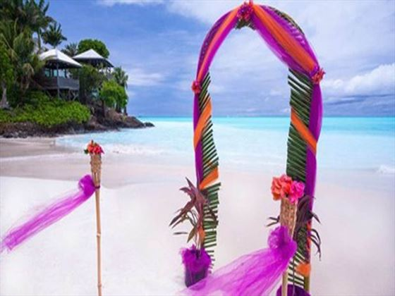 Beach wedding setting in paradise