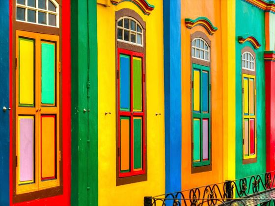 Brightly coloured buildings in Little India, Singapore