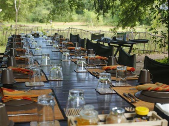 Jungle Menu seating at Noel Rodrigo's Leopard Safari