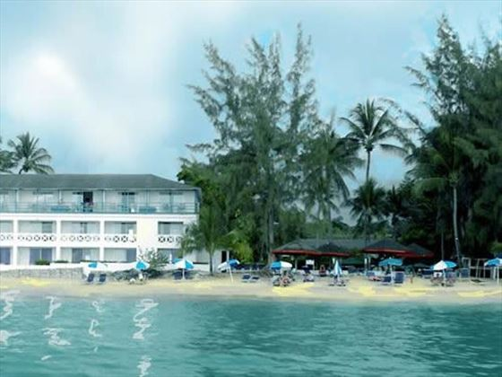 Exterior view from the ocean of Discovery Bay by rex resorts