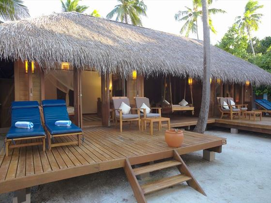 Exterior view of a Beach Villa Suite at Medhufusi Island Resort Hotel