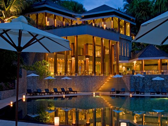 Exterior view of The Surin Phuket at night