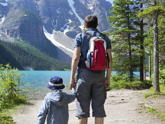 Father and son hiking at Lake Louise