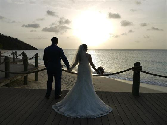 Wedding sunset at Galley Bay