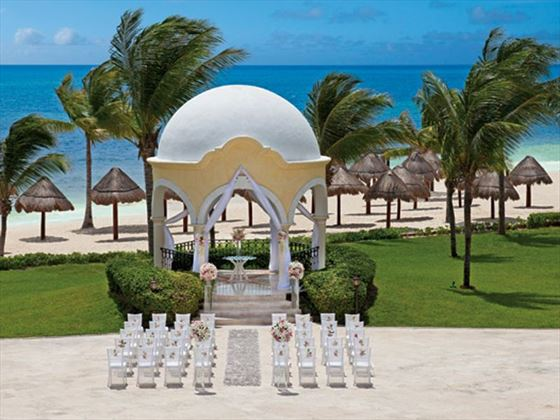 Wedding ceremony is set-up at the gazebo with the Caribbean as the backdrop.