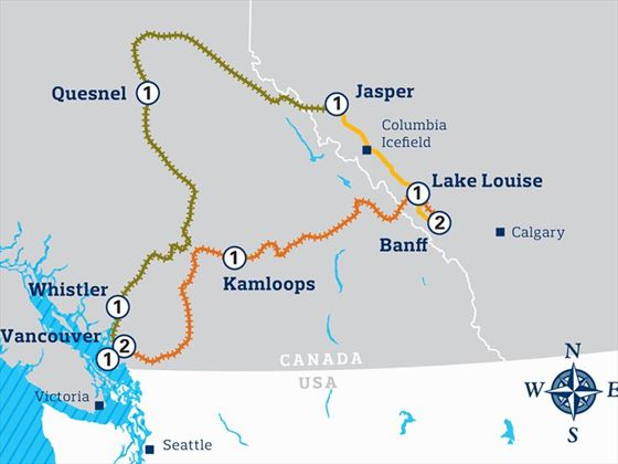 Grand Rail Circle Itinerary Map