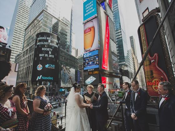 Wedding ceremony overlooking Times Sqaure