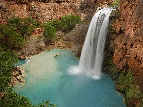 Havasu Falls, within the Havasupai tribal lands of the Grand Canyon