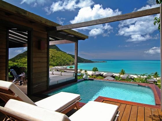 Hermitage Bay Hotel Cottage plunge pool and sun deck