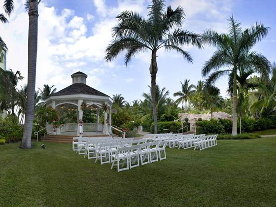 Garden gazebo wedding setting