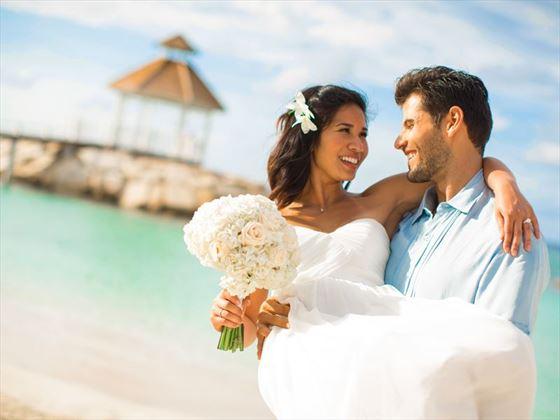 Wedding couple on the beach at Romantic moments at Hyatt Zilara Rose Hall