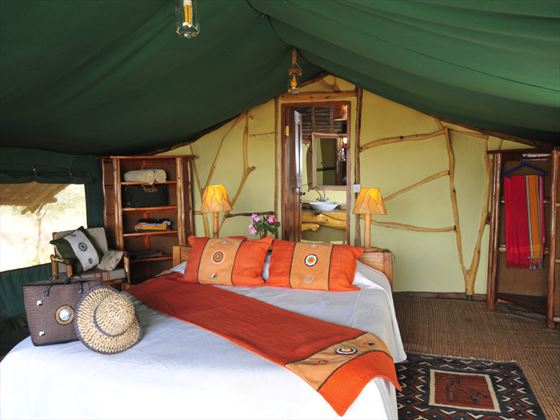 Interior view of the tent at Satao Camp