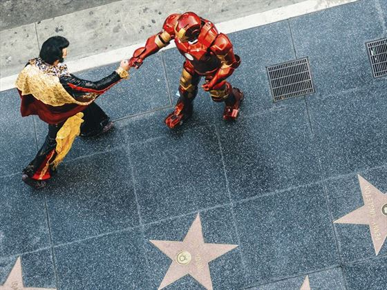 Iron Man and Elvis meet on the Walk of Fame