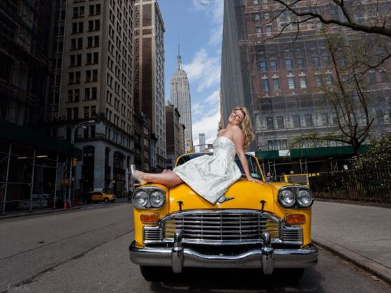 Bride and the Vintage Taxi