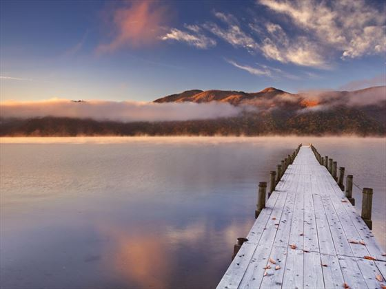 Jetty in Lake Chuzenji at sunrise
