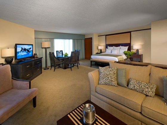 Junior suite living area at Doubletree by Hilton at SeaWorld