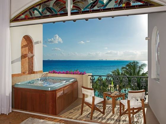 Junior Suite Oceanfront terrace at Zoetry Villa Rolandi Island Mujeres