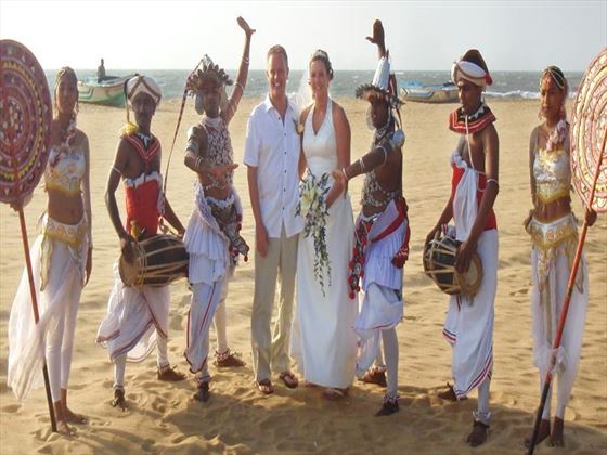 Bride & Groom with the traditional Kandyan dancers & drummers