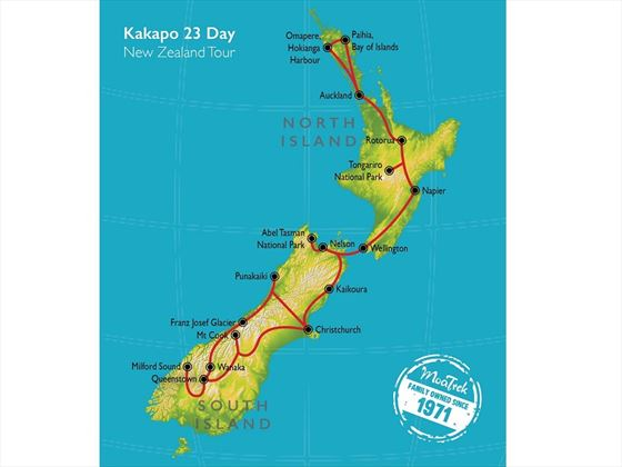 All New Zealand Kakapo map