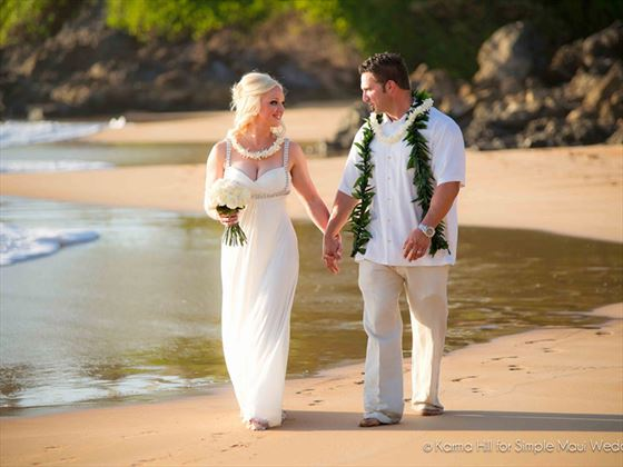 Bride & Groom on Kauai beach