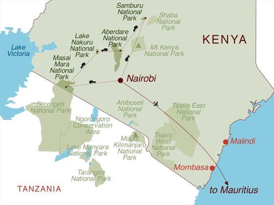 Kenya Safari & Mauritius Map