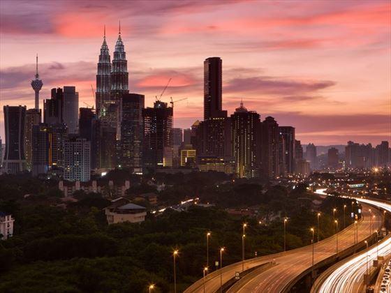 Kuala Lumpur cityscape and surrounding traffic