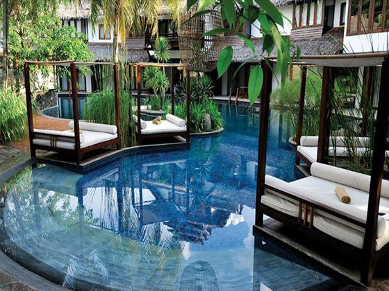 Lagoon and loungers at Villa Samadhi