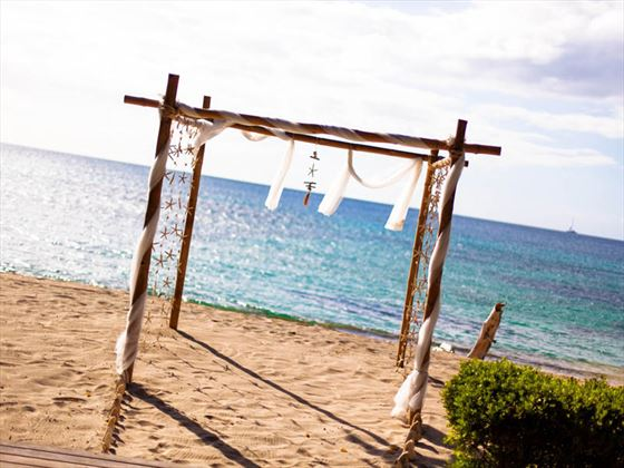 Decorated beachside wedding location