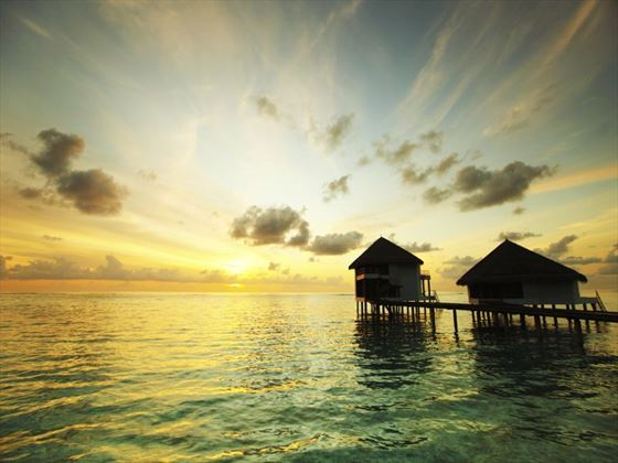 Maldivian huts at sunrise