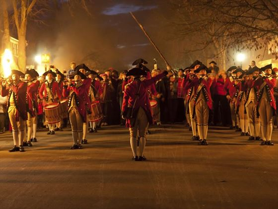 Marching soldiers in colonial Williamsburg
