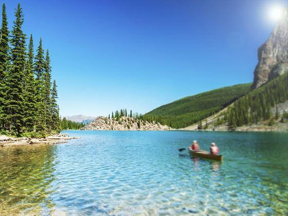 Kayaking Moraine Lake in the summer