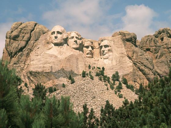 Mount Rushmore in the summer