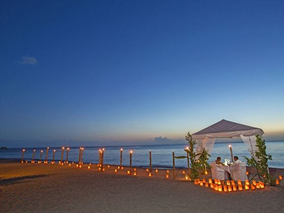 Beach dining under the stars at Anse Chastanet