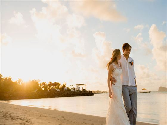 A honeymoon stroll for the newly married couple