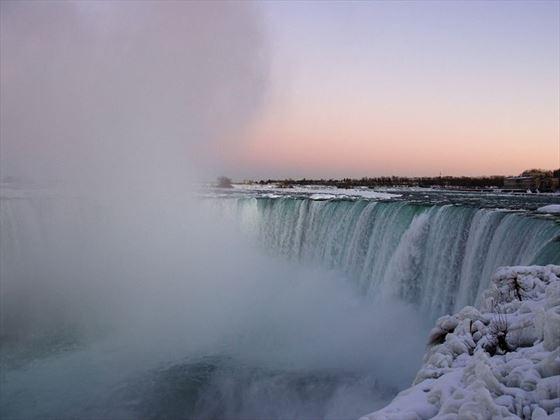 Winter sunset at Niagara Falls
