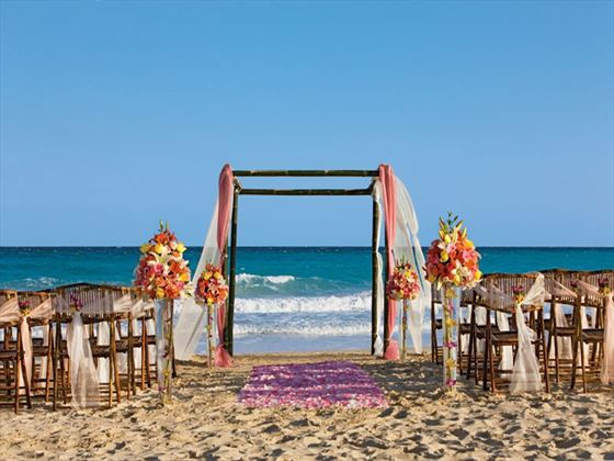 A beautiful wedding set-up on the beach at Now Jade Riviera Cancun