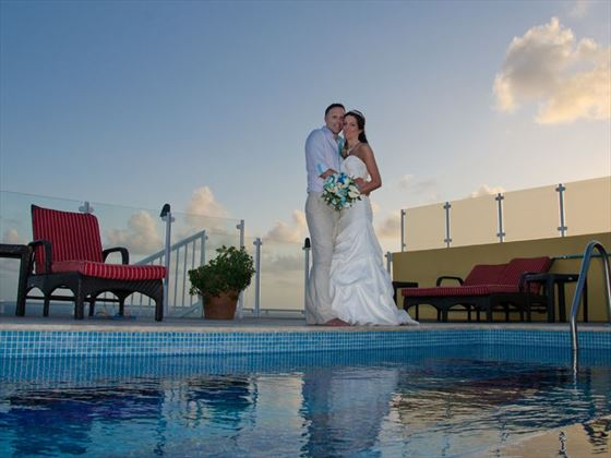 Bride & Groom on the rooftop at Ocean Two Resort