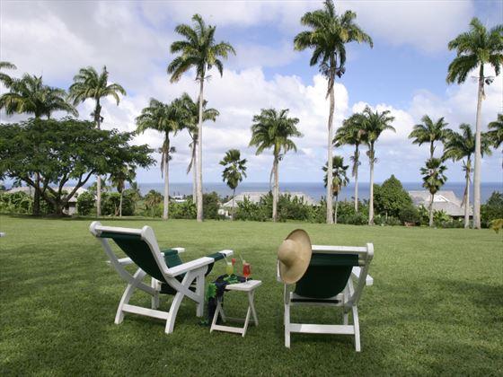 Ocean-facing seating at Ottley's Plantation Inn