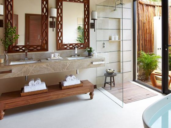 Oceanfront Villa bathroom at Viceroy Riviera Maya