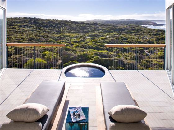Osprey Pavilion terrace at Southern Ocean Lodge
