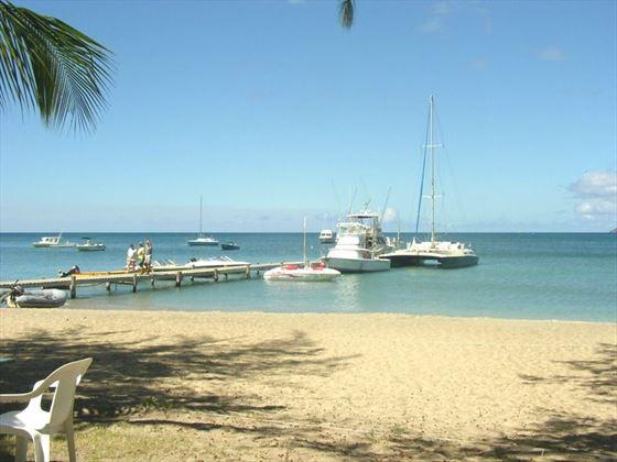 The beach at Oualie Beach Resort