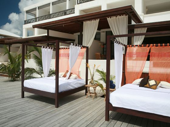 Outdoor day beds at Silverpoint Hotel