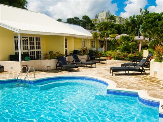 Outdoor pool at Island Inn Boutique Hotel