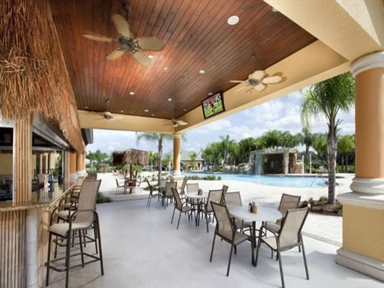 Outdoor seating at Paradise Palms Resort