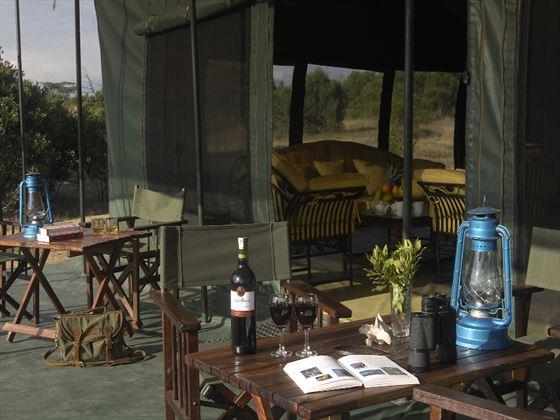 Outdoor seating at Porini Rhino Camp
