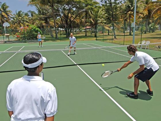Outdoor tennis courts at Coconut Bay Resort & Spa
