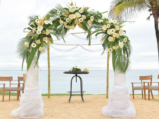 Wedding setting at Outrigger Mauritius Beach Resort