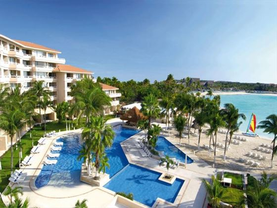 Overhead view of the pools at Dreams Puerto Aventuras